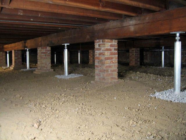 Crawl space support systems smartjack crawlspace floor for Concrete in crawl space