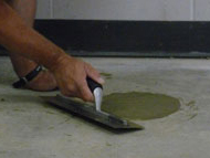 restoring the concrete slab floor with concrete